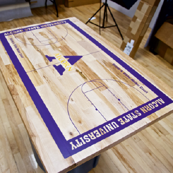 Alcorn State University customized hardwood court desktop