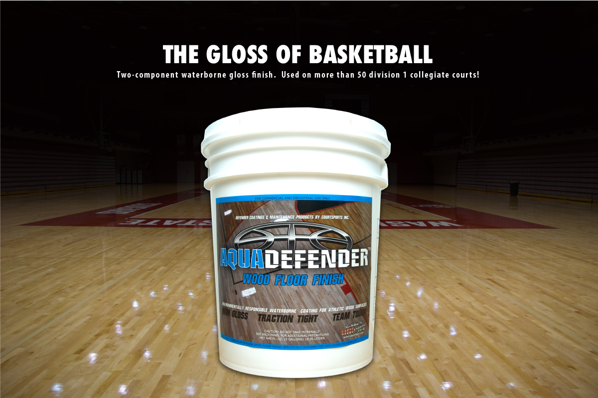 AQUADEFENDER WOOD FLOOR FINISH - TWO COMPONENT WATERBORNE GLOSS FINISH FOR BASKETBALL GYM FLOORS - USED ON MORE THAN 50 NCAA D1 COURTS