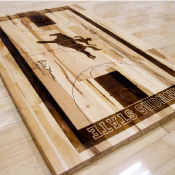 Connor State mini basketball court laser etched