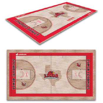Lamar University basketball court floor design