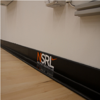 Nike customized rubber wall base with NSRL logo