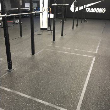 Nike weight room rubber floor painting for squat racks