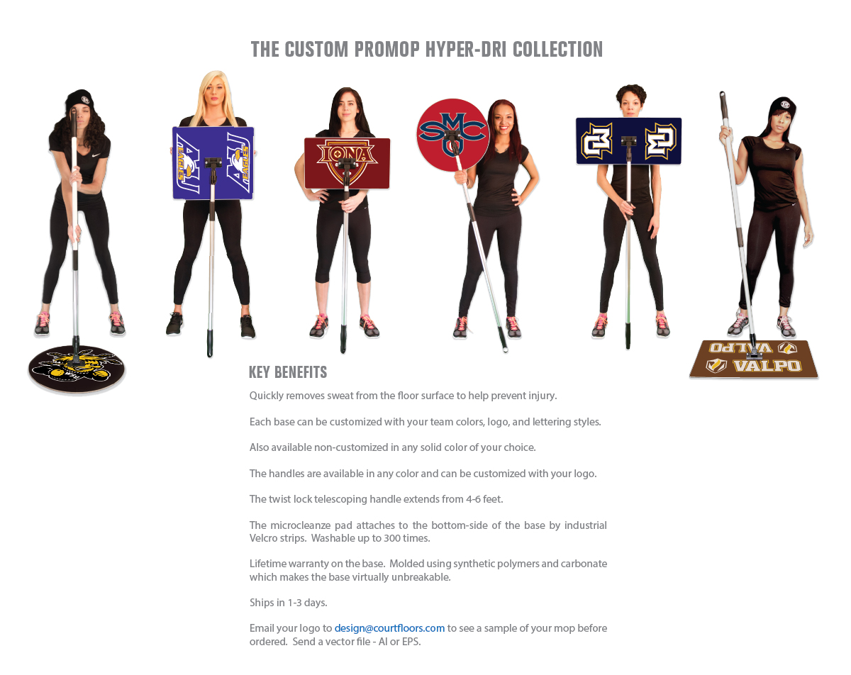 THE PROMOP HYPER-DRI COLLECTION - CUSTOMIZED TEAM BASKETBALL MOPS SO YOU CAN REP YOUR TEAM!