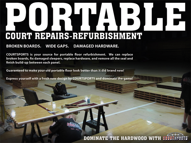 PORTABLE BASKETBALL COURT REPAIRS - REFURBISHMENT