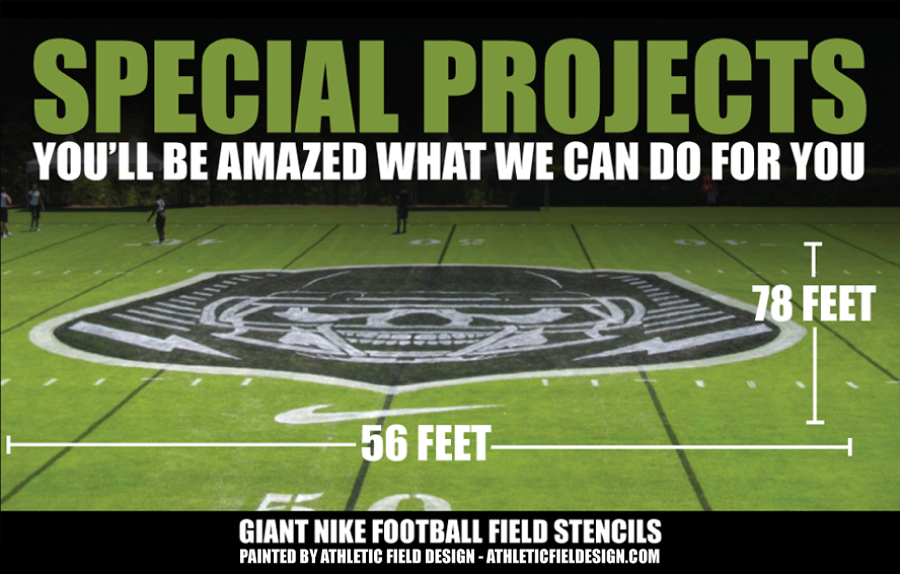 SPECIAL PROJECTS BY COURTSPORTS INC. - LARGE FOOTBALL FIELD STENCIL FOR NIKE