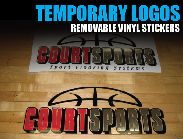 TEMPORARY VINYL STICKERS AND LOGOS FOR BASKETBALL COURT FLOORS