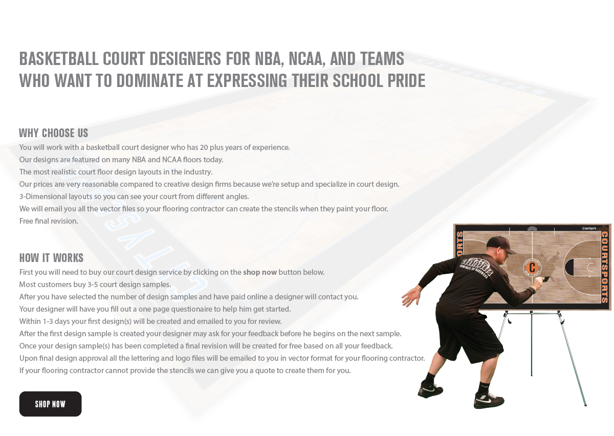 BASKETBALL COURT DESIGNERS FOR NBA, NCAA, AND TEAM WHO WANT TO DOMINATE AT EXPRESSING THEIR SCHOOL PRIDE