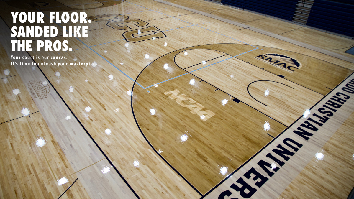 BASKETBALL COURT FLOOR SANDING AND REFINISHING - PAINT LOGOS, TINTING, STAIN, MASCOT, GAME LINE PAINTING