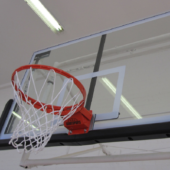New basketball hoop and backboard installation