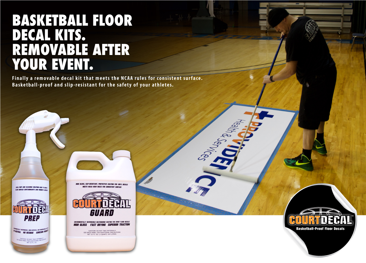 COURTDECAL - BASKETBALL PROOF FLOOR DECALS THAT ARE REMOVABLE AFTER YOUR EVENT