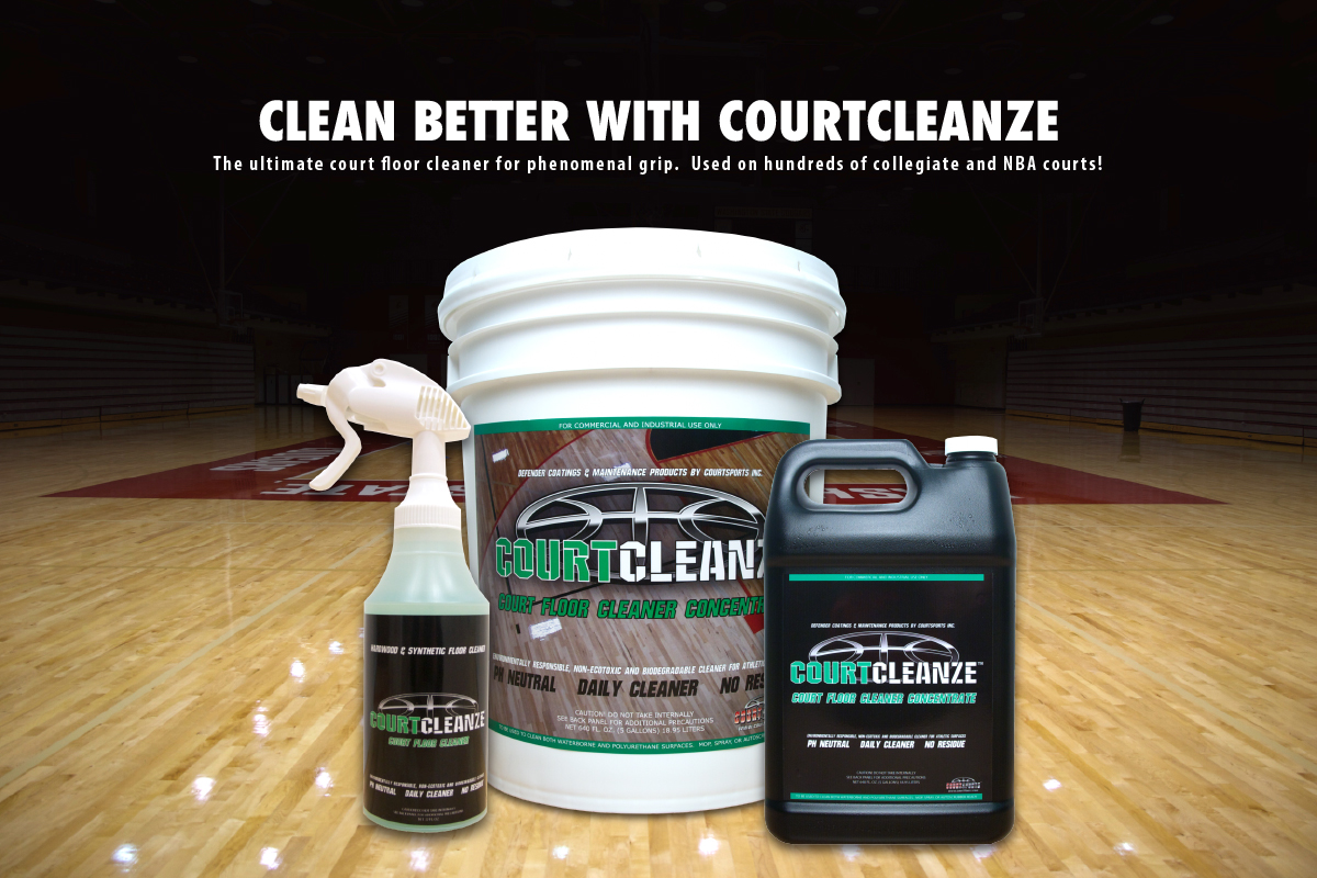 COURTCLEANZE CLEANER FOR BASKETBALL GYM FLOOR SURFACES - PROMOTES TRACTION ON SLIPPERY FLOORS