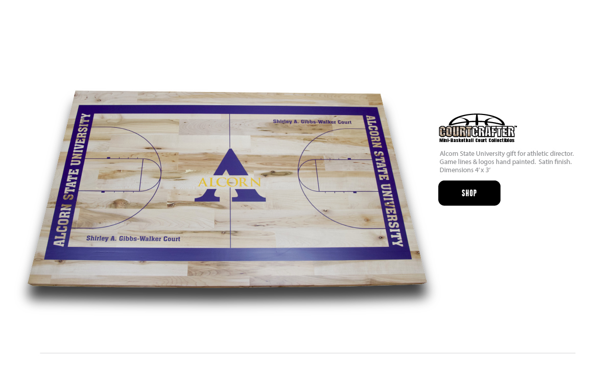 COURTCRAFTER MINI BASKETBALL COURT REPLICA - HAND-MADE AND GAME LINES AND LOGO PAINTED