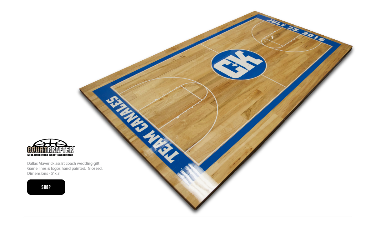 COURTCRAFTER - MINI BASKETBALL COURT COLLECTIBLE - USING REAL HARDWOOD BASKETBALL FLOORING