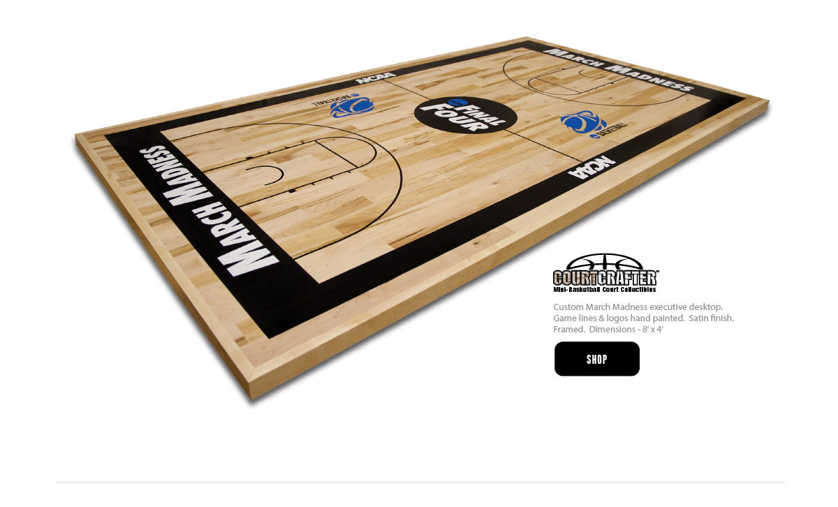 COURTCRAFTER MINI BASKETBALL COURT REPLICA DESKTOP WITH GAME LINES AND LOGO PAINTED - MADE FROM REAL BASKETBALL FLOORING