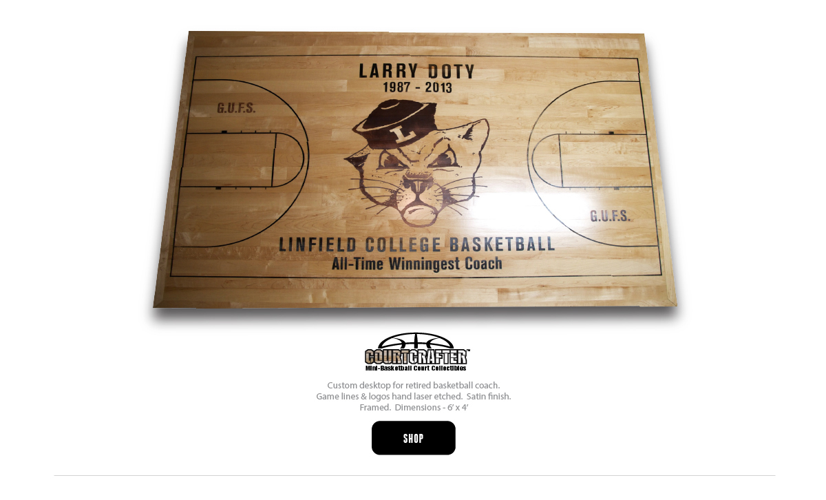 COURTCRAFTER MINI BASKETBALL COURT REPLICA DESKTOP LASER ETCHED WITH TEAM LOGO AND LETTERING