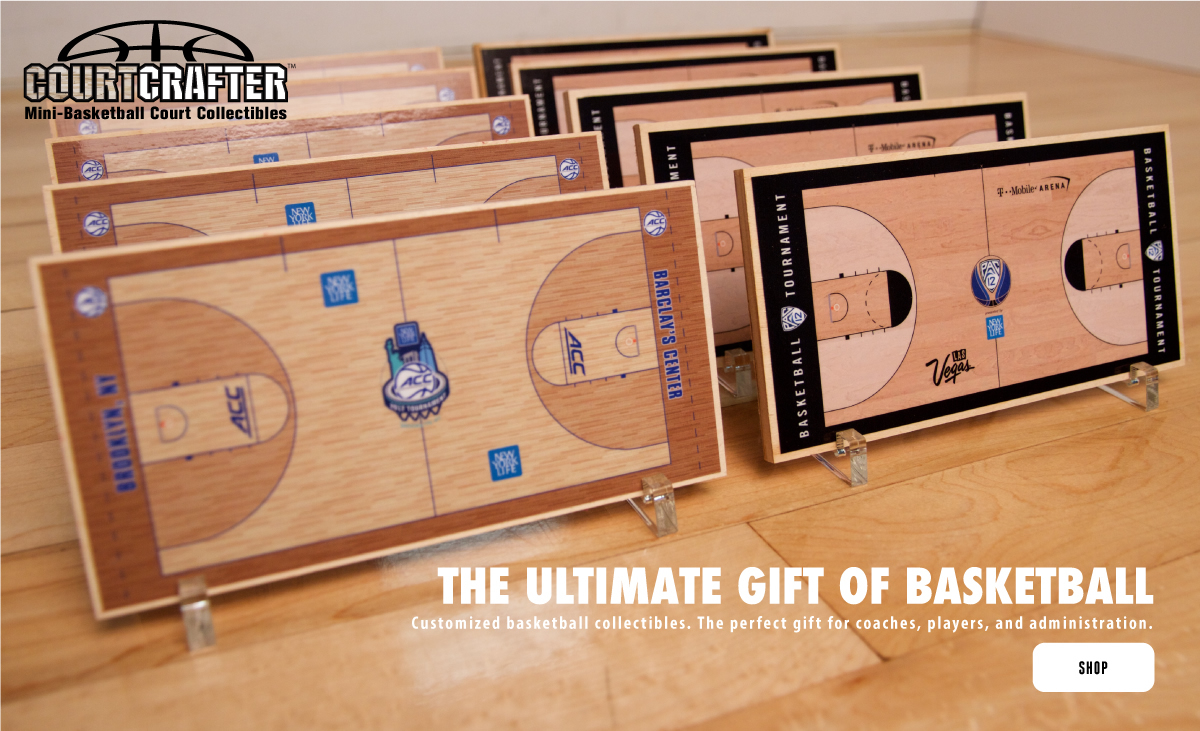 COURTCRAFTER - THE ULTIMATE GIFT OF BASEKTBALL.  CUSTOM MINI BASKETBALL COURT REPLICAS