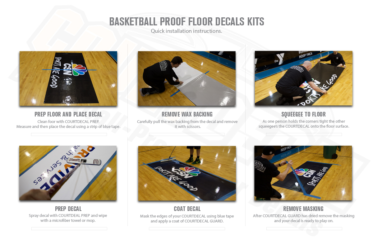 COURTDECAL BASKETBALL PROOF DECALS FOR GYMNASIUM FLOORS THAT ARE USED FOR BASKETBALL TOURNAMENTS AND EVENTS.  EASY TO INSTALL AND REMOVABLE AFTERWARDS - MEETS NCAA RULES FOR CONSISTENT SURFACE