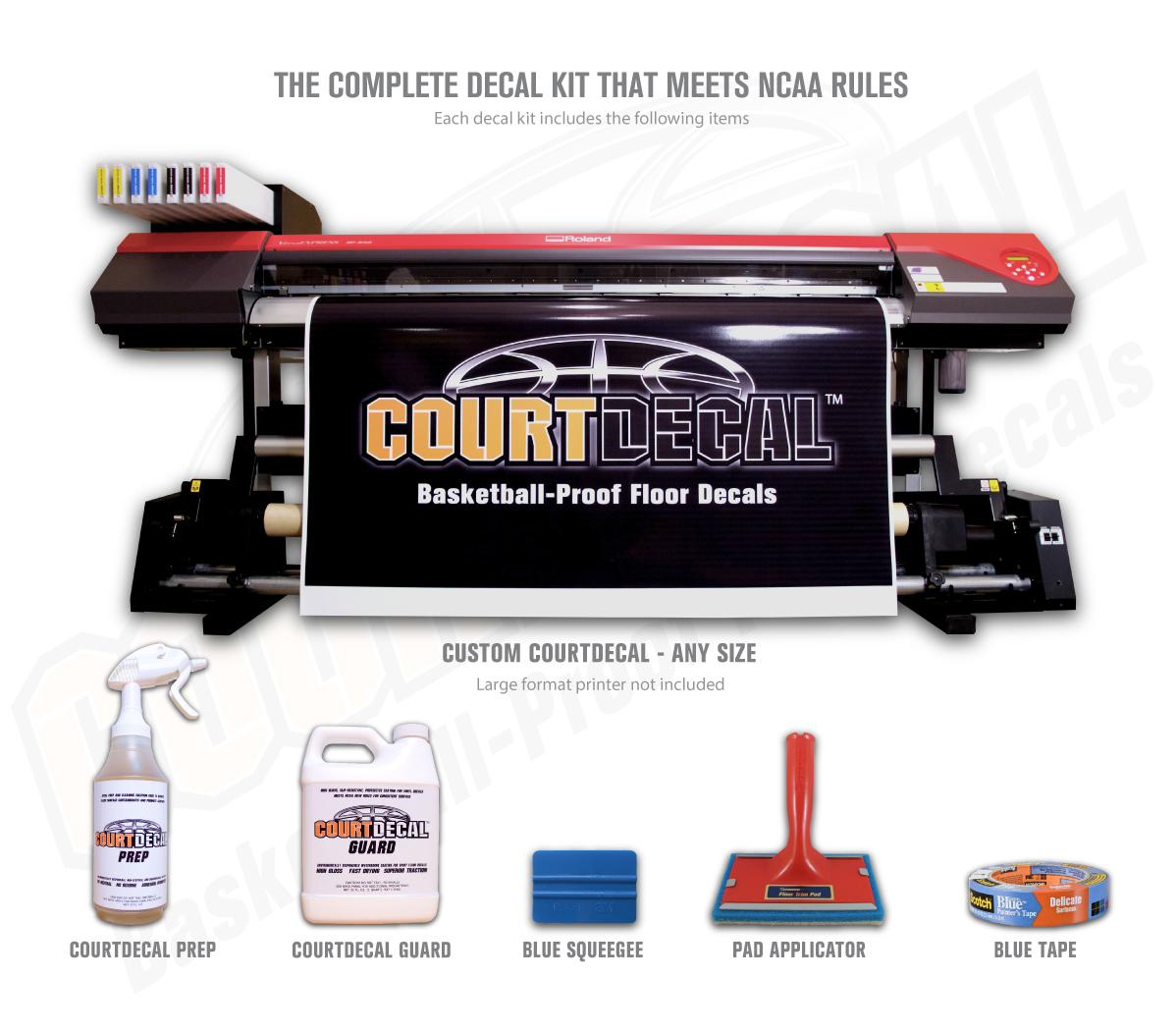 COURTDECAL - BASKETBALL PROOF COURT FLOOR DECALS THAT ARE REMOVABLE AND MEET NEW NCAA RULES FOR CONSISTENT SURFACE