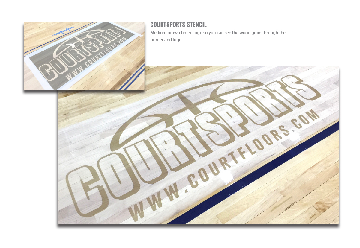 courtsports logo stencil tinted on the basketball border of main court