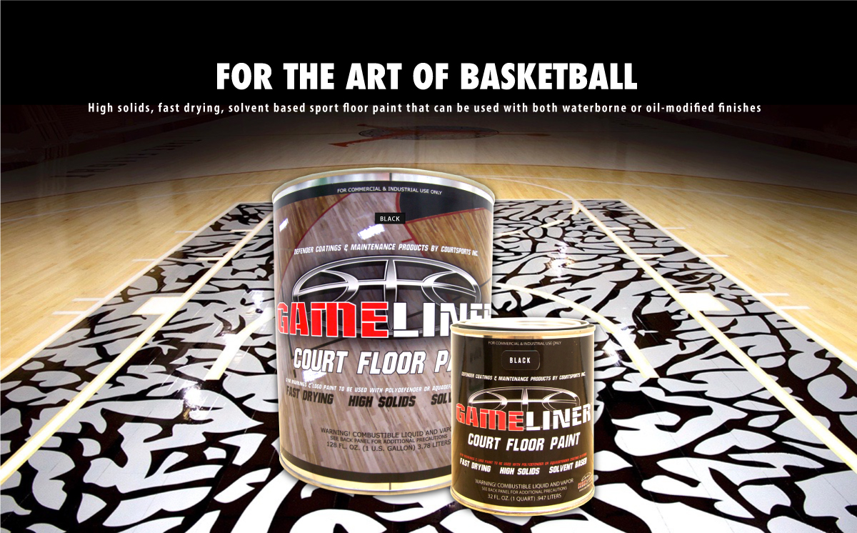 GAMELINER BASKETBALL COURT FLOOR PAINT FOR PAINTING LETTERING, LOGOS, AND GAME LINES - FOR THE ART OF BASKETBALL
