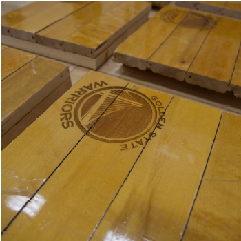 Golden State Warriors mini basketball panels with laser etched GSW logo