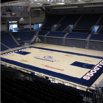 Gonzaga University basketball court design, sanding, painting, and refinishing