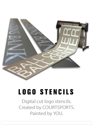 stencils for painting logos and lettering on basketball gym floors