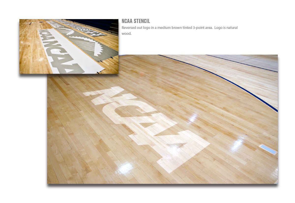 ncaa logo stencils reversed as natural wood