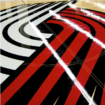 Portland Trail Blazers basketball court floor refinishing