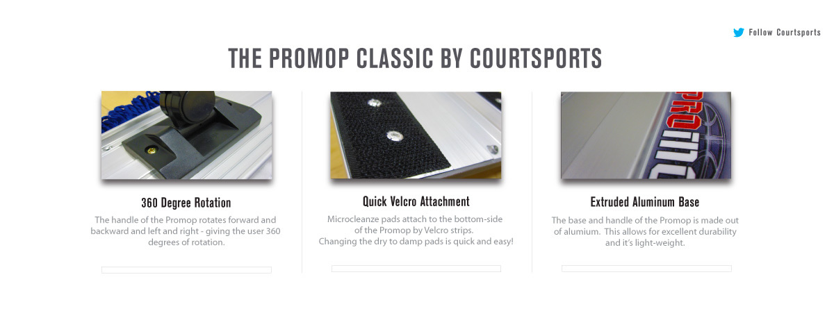 THE PROMOP CLASSIC BY COURTSPORTS - HARDWOOD FLOOR MOP THAT CLEANS BOTH DAMP AND DRY