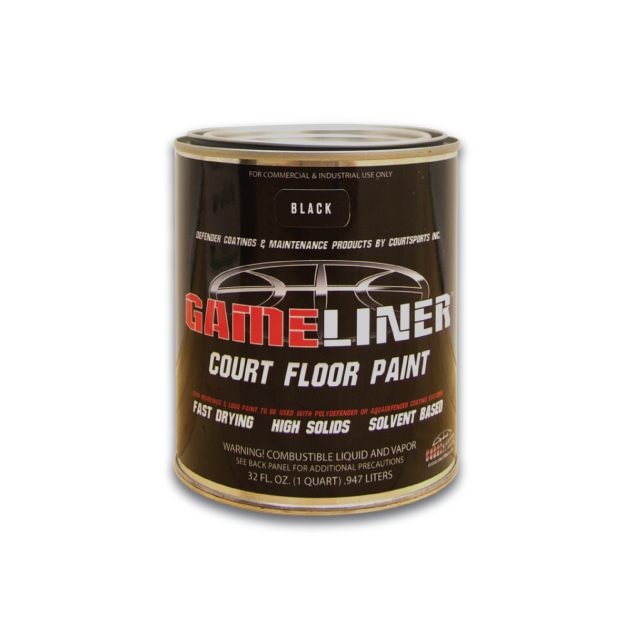GAMELINER PAINT FOR PAINTING LOGOS GRAPHICS AND GAME LINES ON BASKETBALL COURT FLOOR SURFACES