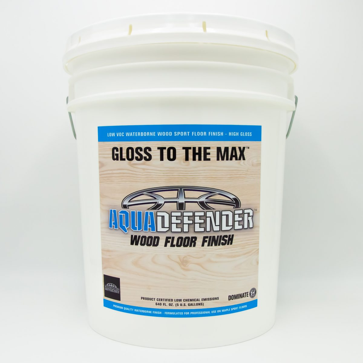 AQUADEFENDER WOOD FLOOR FINISH FOR SPORT FLOORS- WATERBORNE LOW VOC FORMULA AND FAST DRYING
