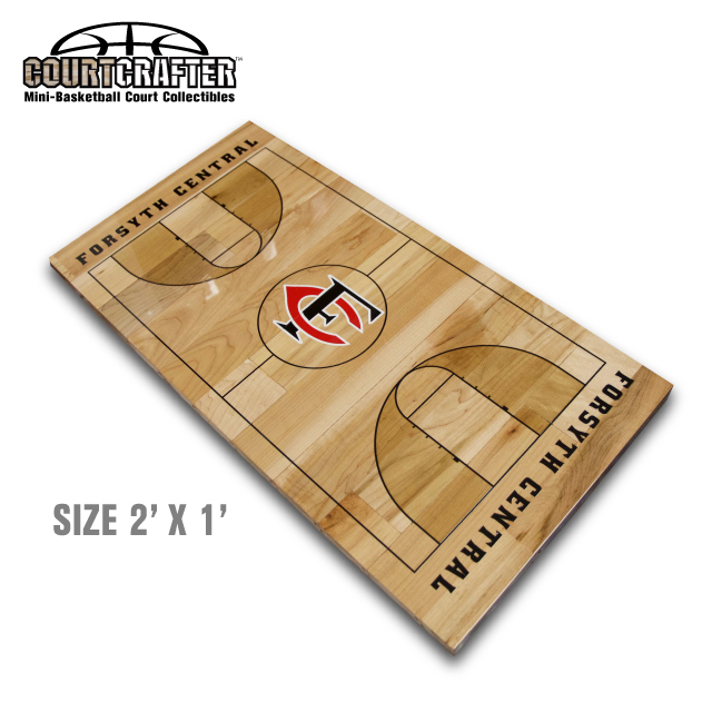 Courtcrafter mini basketball court floor collectible customized with your teams logos and lettering styles