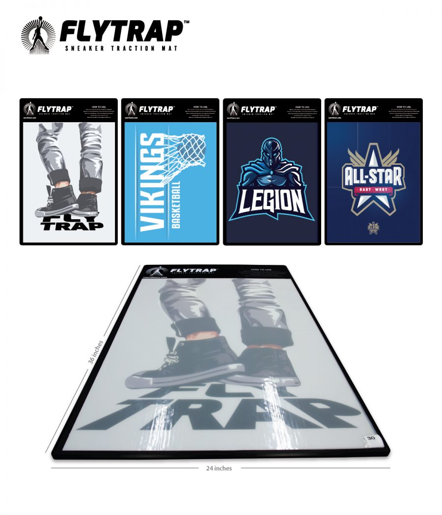 FLYTRAP - SNEAKER TRACTION MAT FOR SLIPPERY GYM FLOORS - USED FOR BASKETBALL, VOLLEYBALL, RACQUETBALL, AND PE