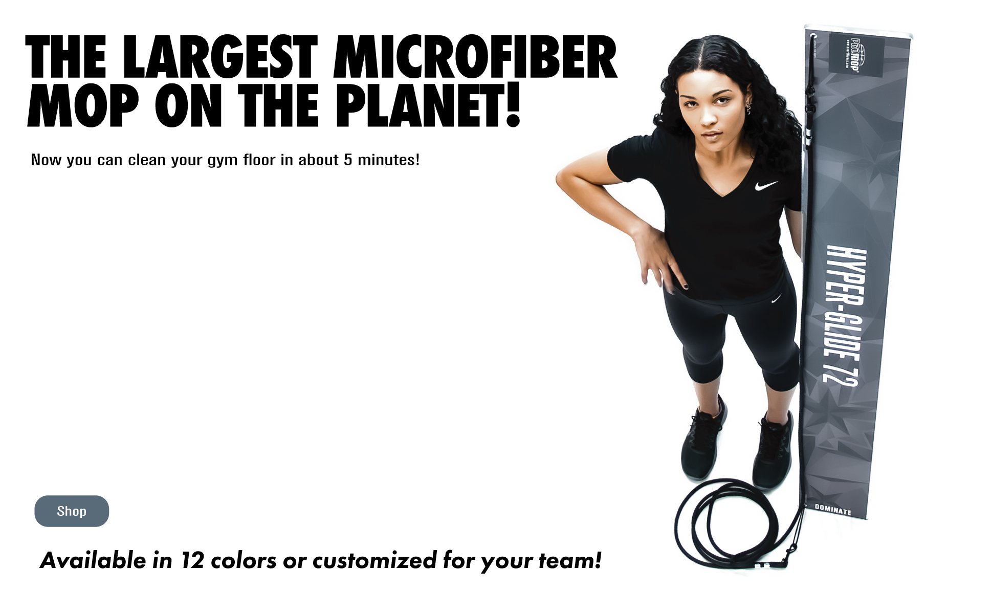 PROMOP HYPER-GLIDE 72 - WORLDS LARGEST MICROFIBER MOP - PULL BEHIND FOR CLEANING LARGE HARDWOOD GYM FLOOR SURFACES.