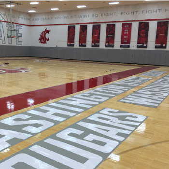 Washington State University cougars basketball court floor refinishing PEB 146