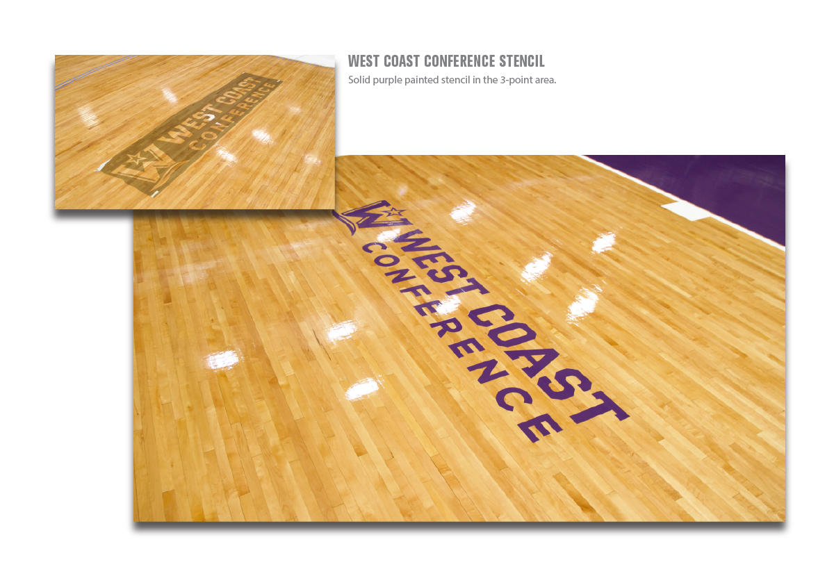 west coast conference basketball logo stencil painted in 3-point area